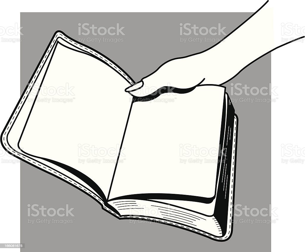 Open Book with Female Hand vector art illustration