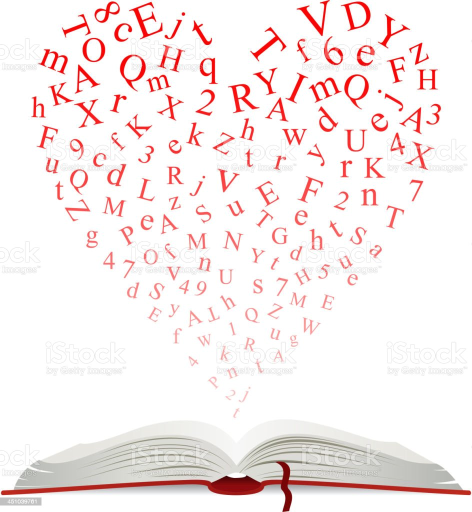 Open book with heart of letters royalty-free stock vector art
