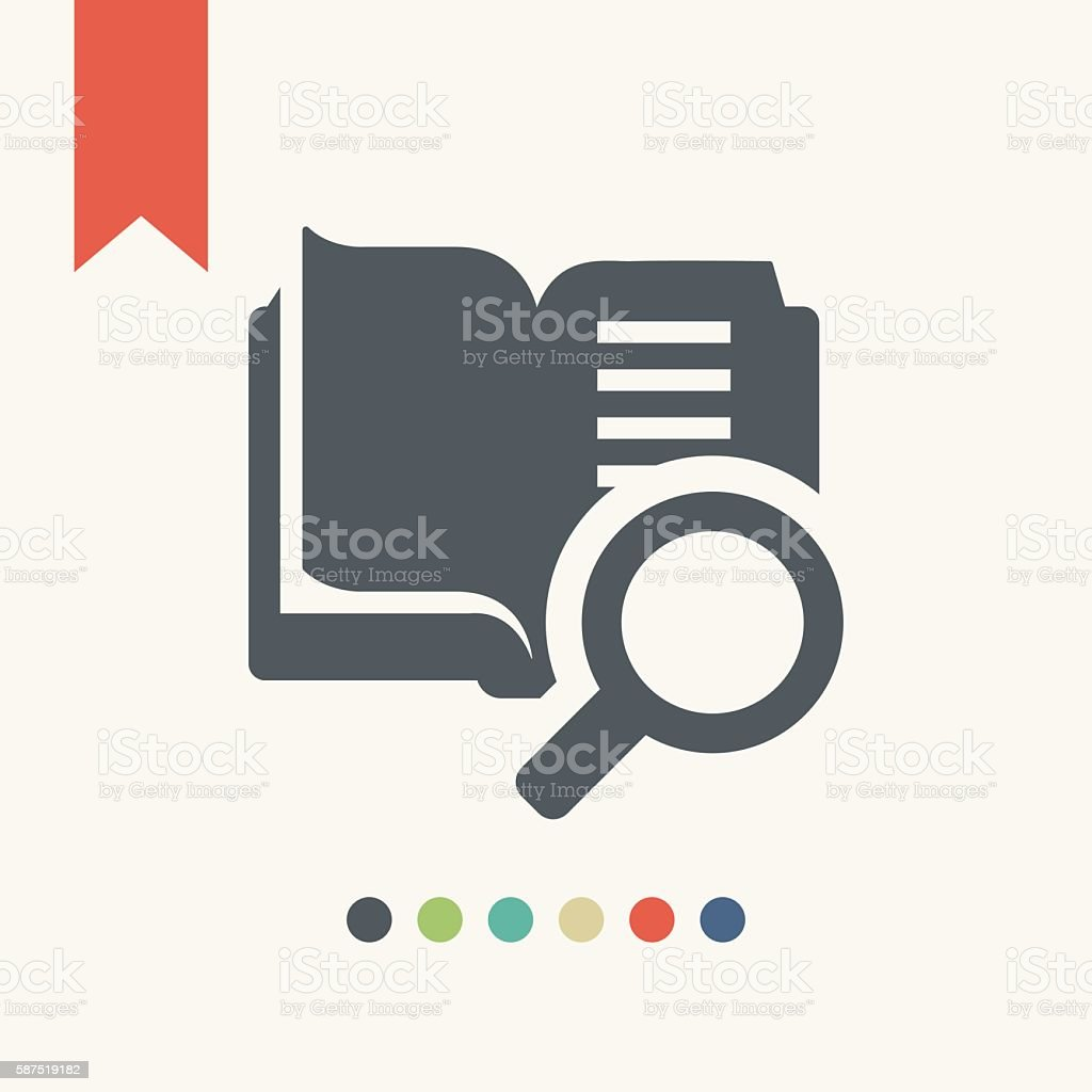 Open book with magnifying glass icon vector art illustration