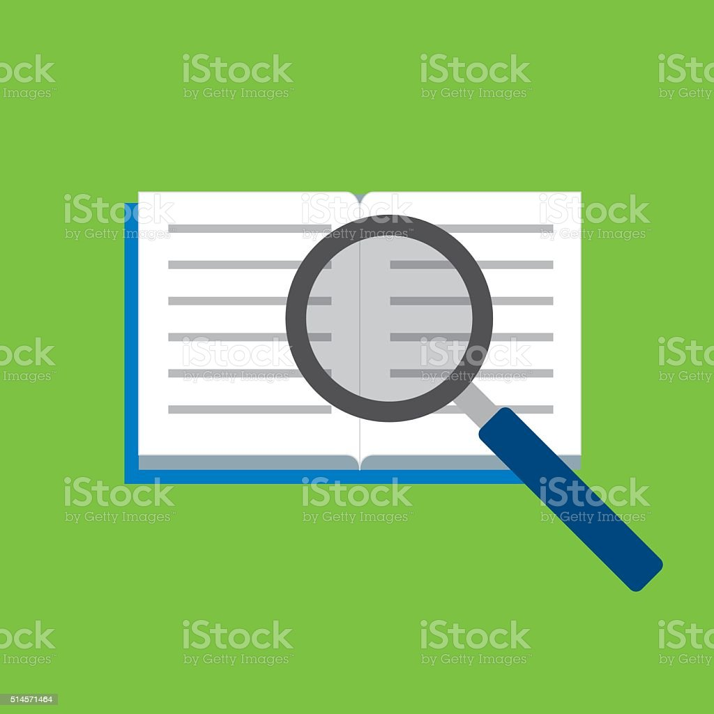 Open book with magnifying glass vector art illustration