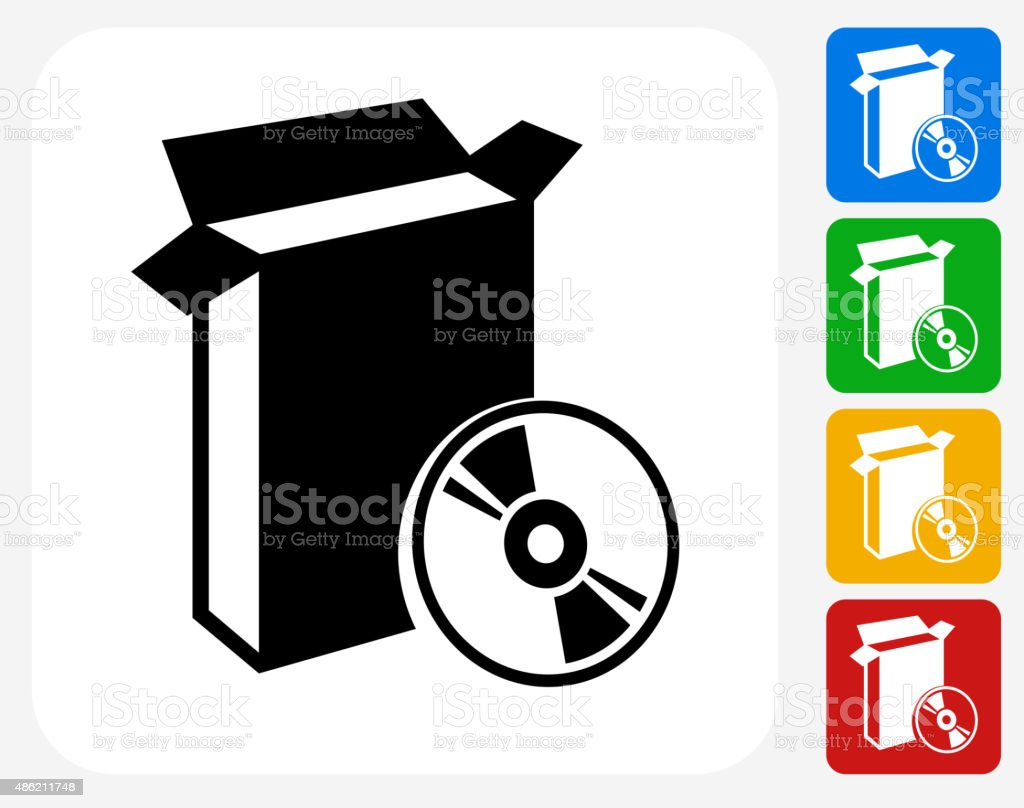 Open Box and CD Icon Flat Graphic Design vector art illustration