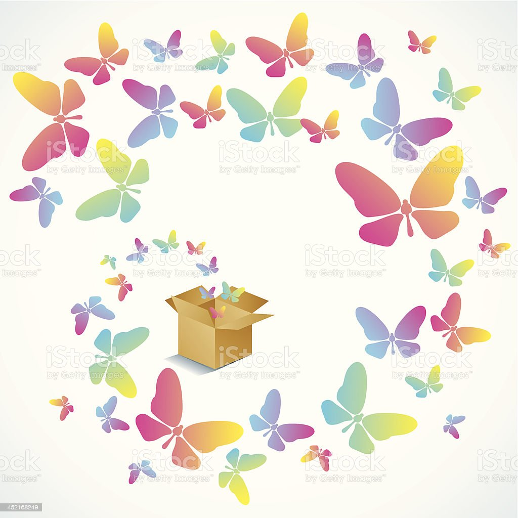 Open box and the butterfly royalty-free stock vector art
