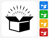Open Box Icon Flat Graphic Design
