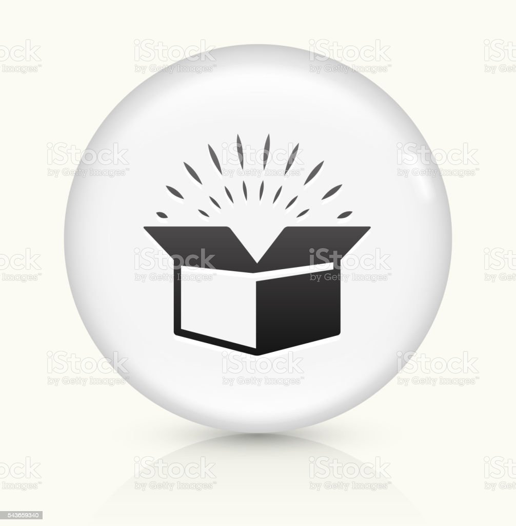 Open Box icon on white round vector button vector art illustration