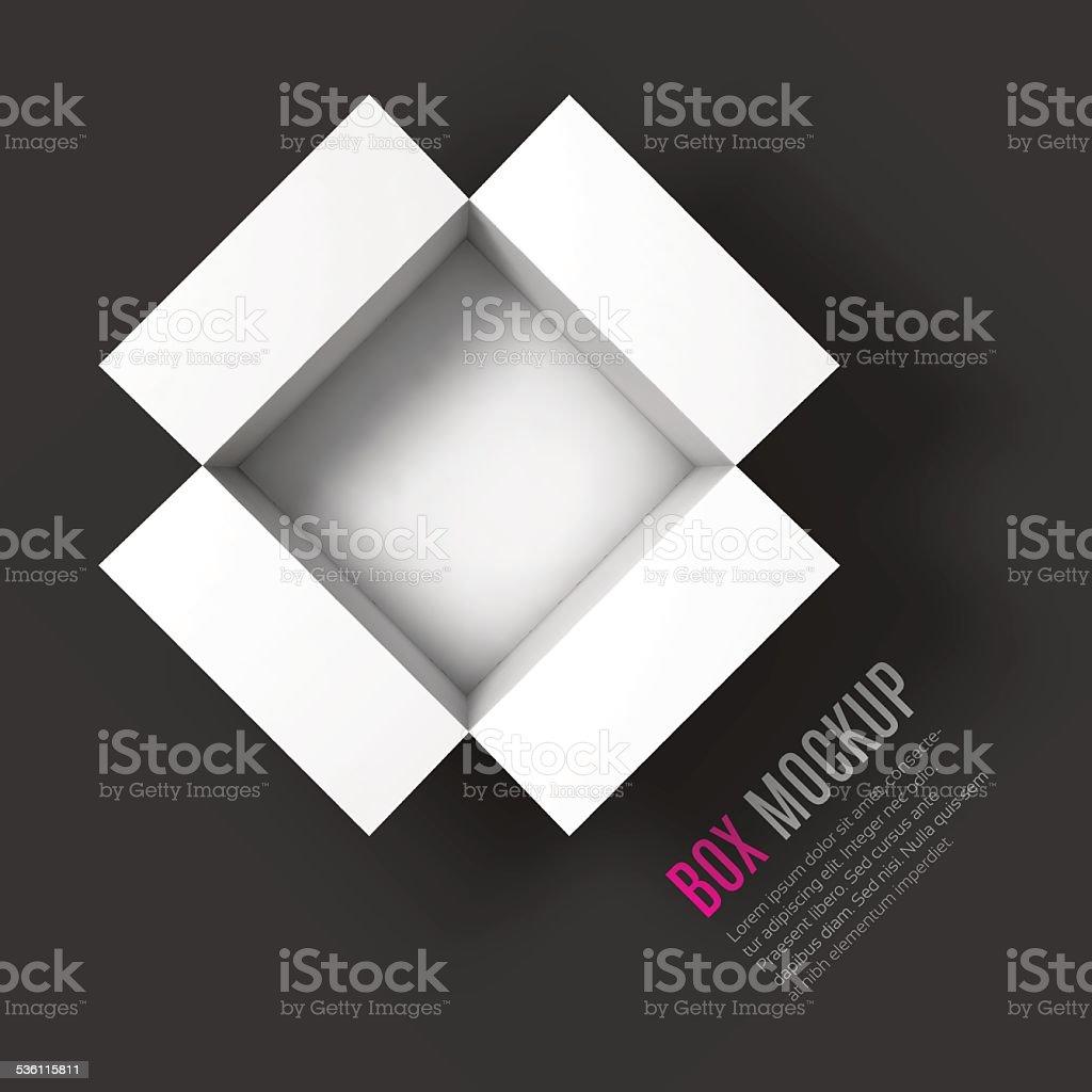 Open box mockup template. Top view vector art illustration