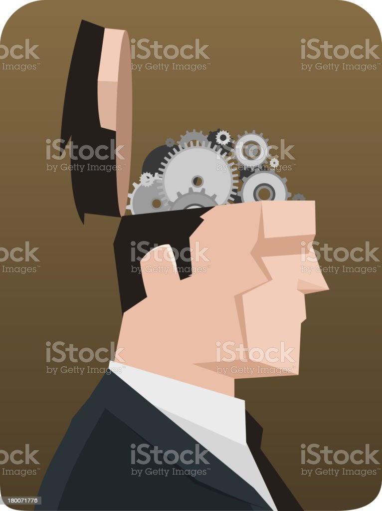 Open Businessman Head Thought Thinking Gear Mechanism royalty-free stock vector art
