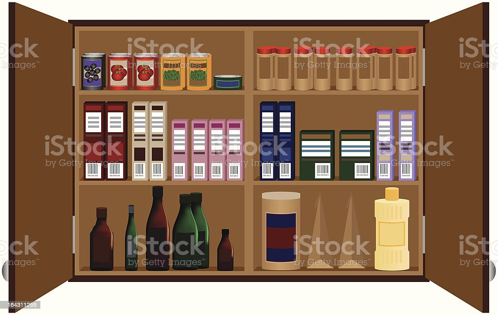 Open cabinet vector art illustration
