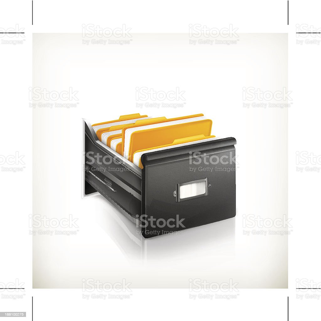 Open Card Catalog vector art illustration