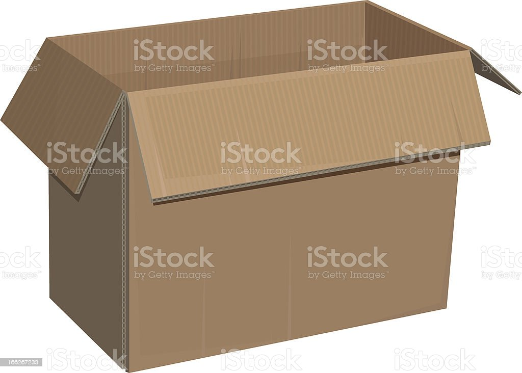 Open cardboard box isolated royalty-free stock vector art