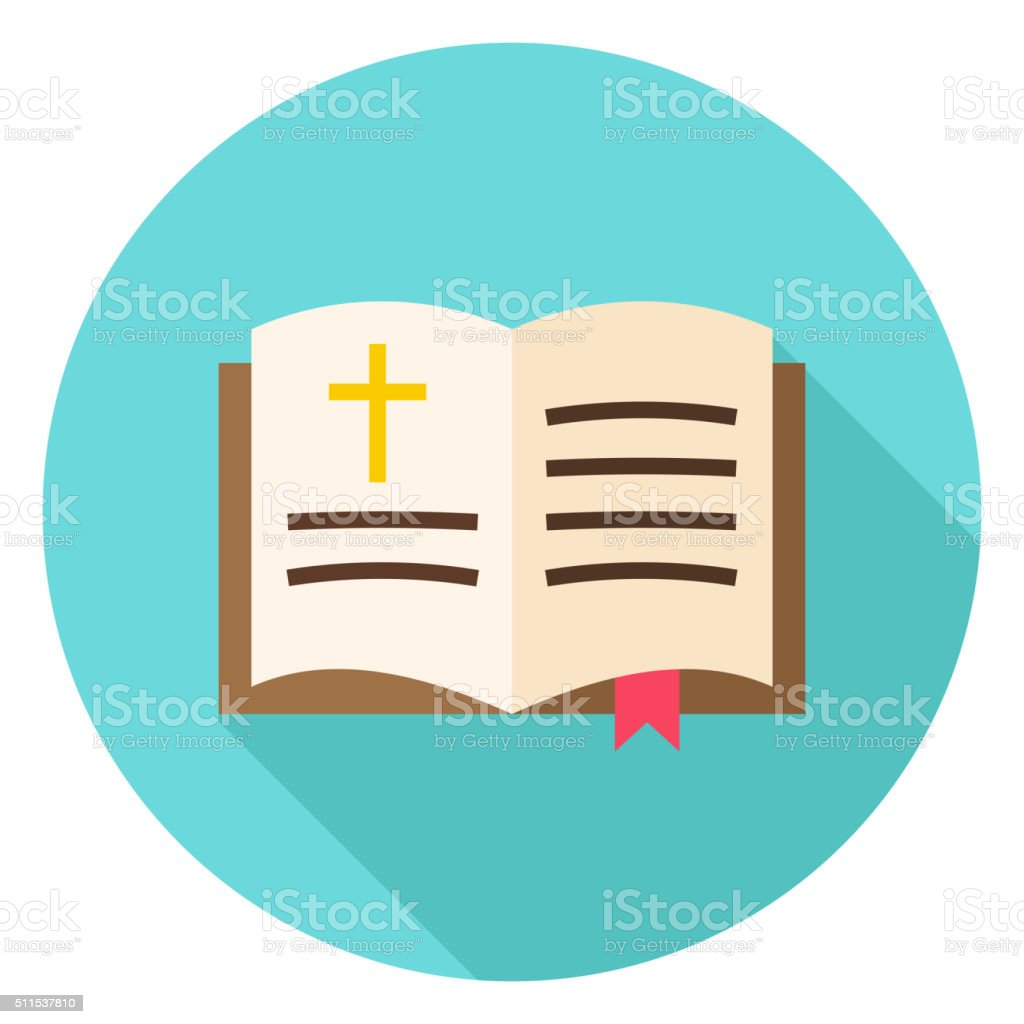 Open Bible Book with Bookmark and Cross Circle Icon. Flat Design...