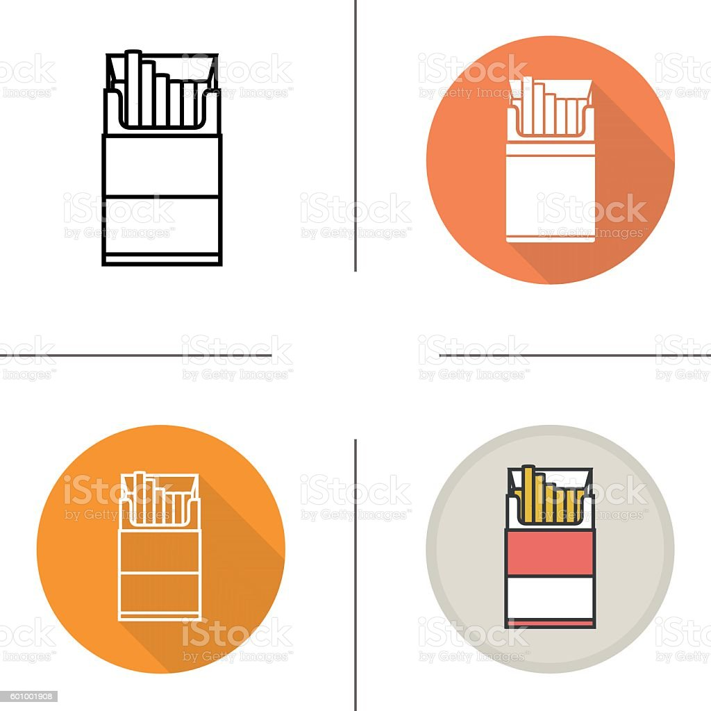 Open cigarette pack icons vector art illustration