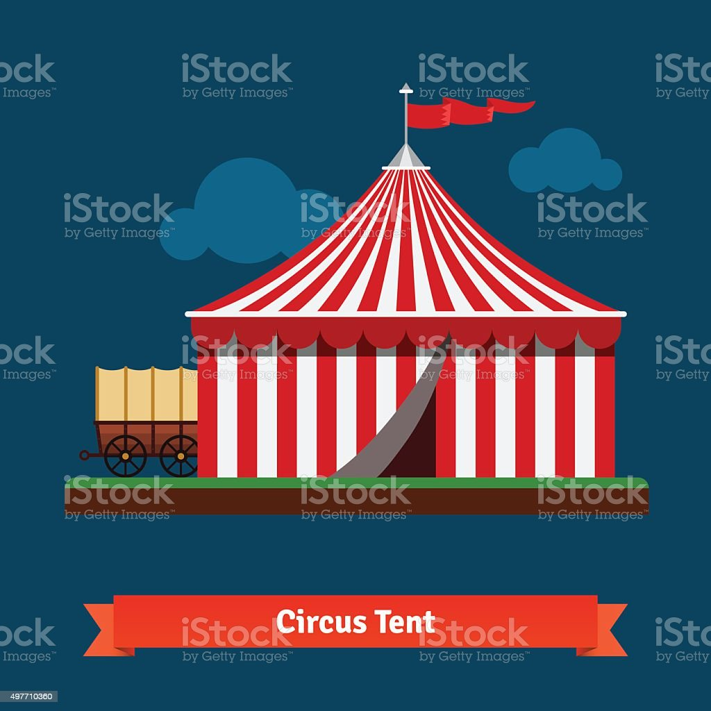 Open circus striped tent with wagon wheel vector art illustration
