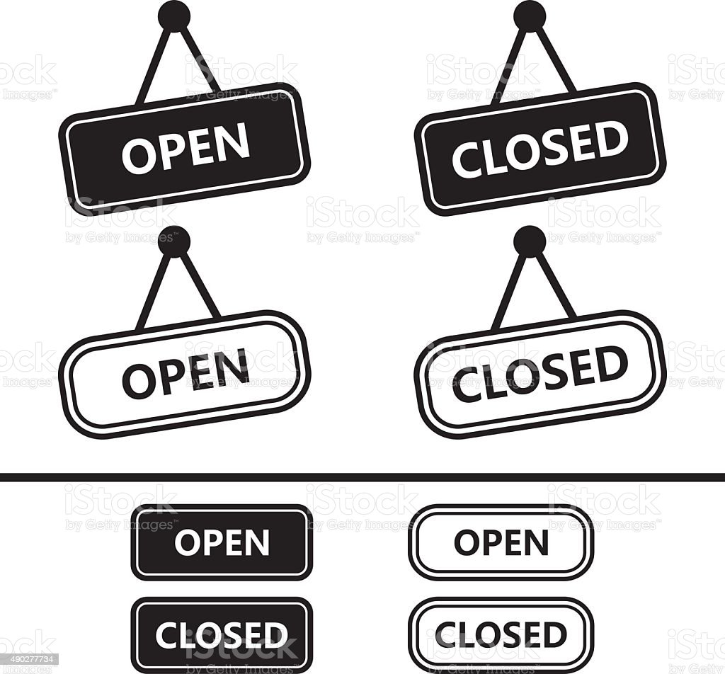 Open Closed Sign Icons vector art illustration