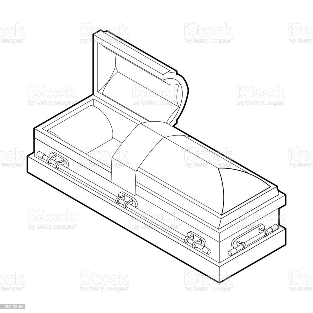 Open coffin in linear style. Wooden casket for burial. Red hearse. Religious illustration vector art illustration
