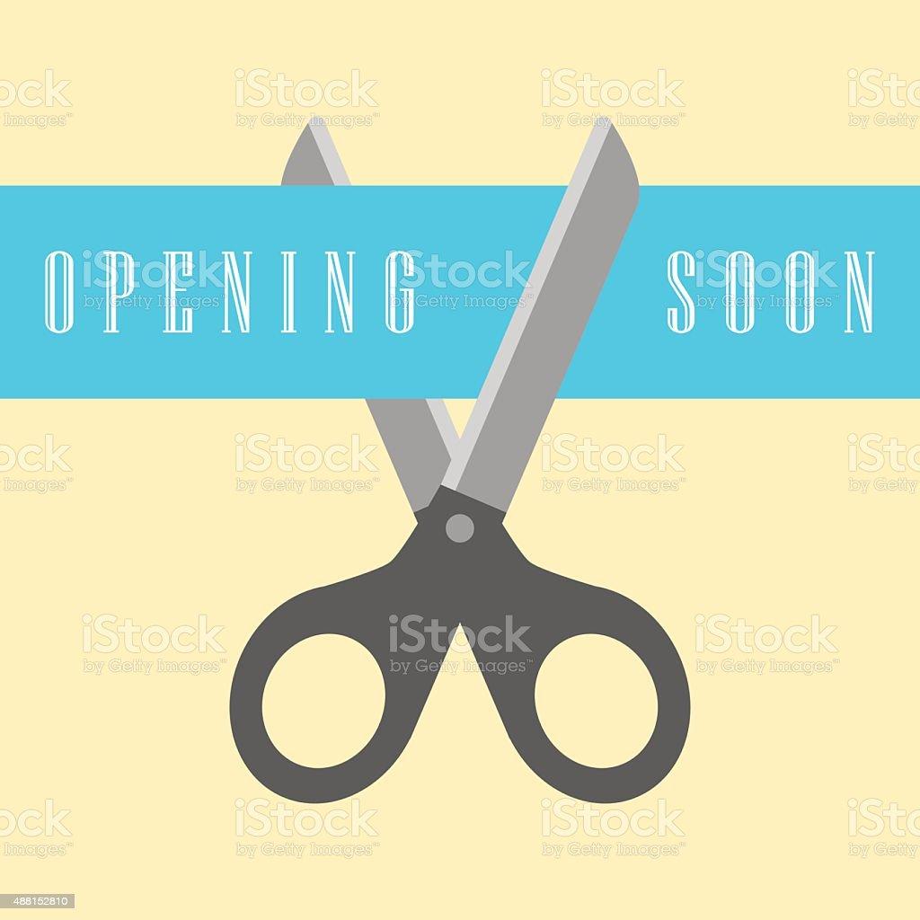 open concept, scissors cut the ribbon vector art illustration
