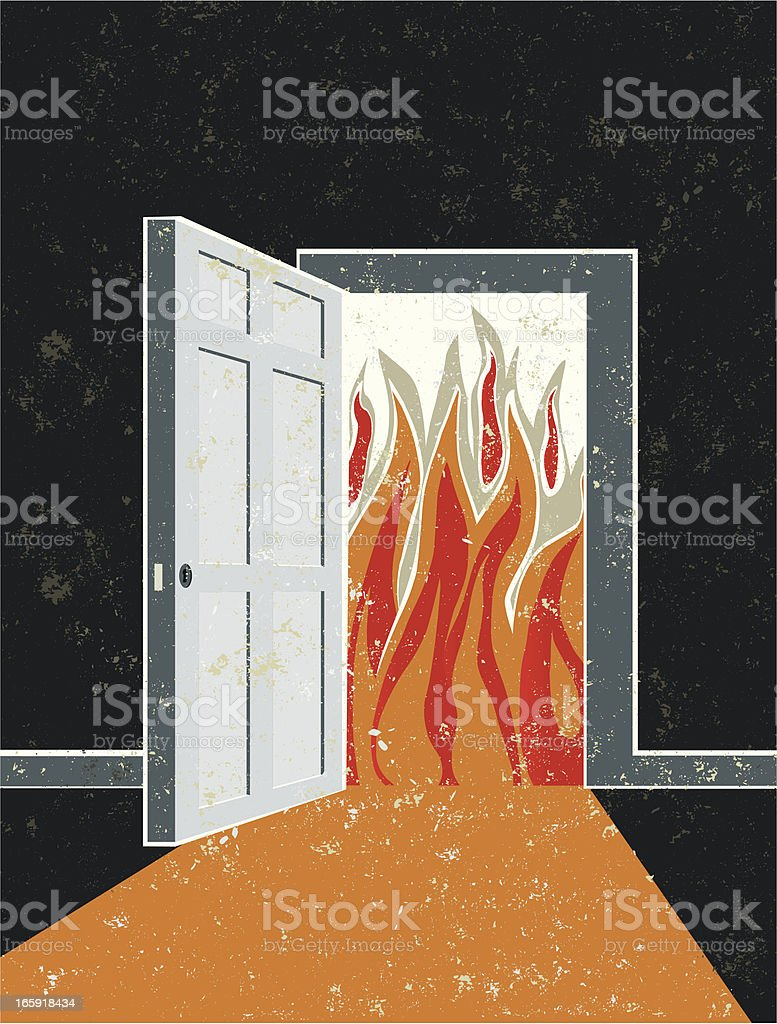Open Door and Doorway with Flames royalty-free stock vector art