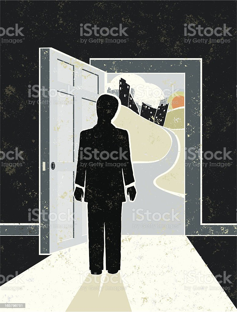 Open Door, Business Man and Cityscape royalty-free stock vector art