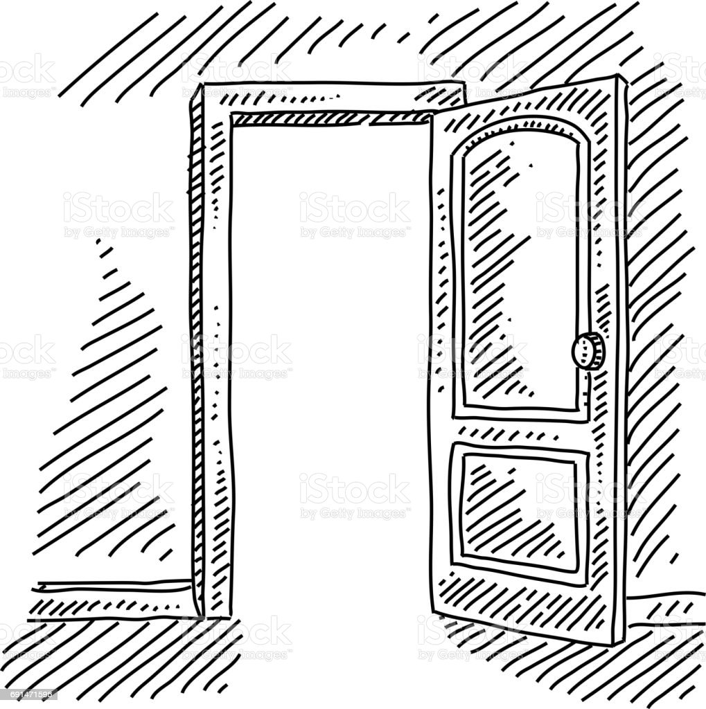 Open door concept drawing stock vector art 691471596 istock for Porte ouverte dessin