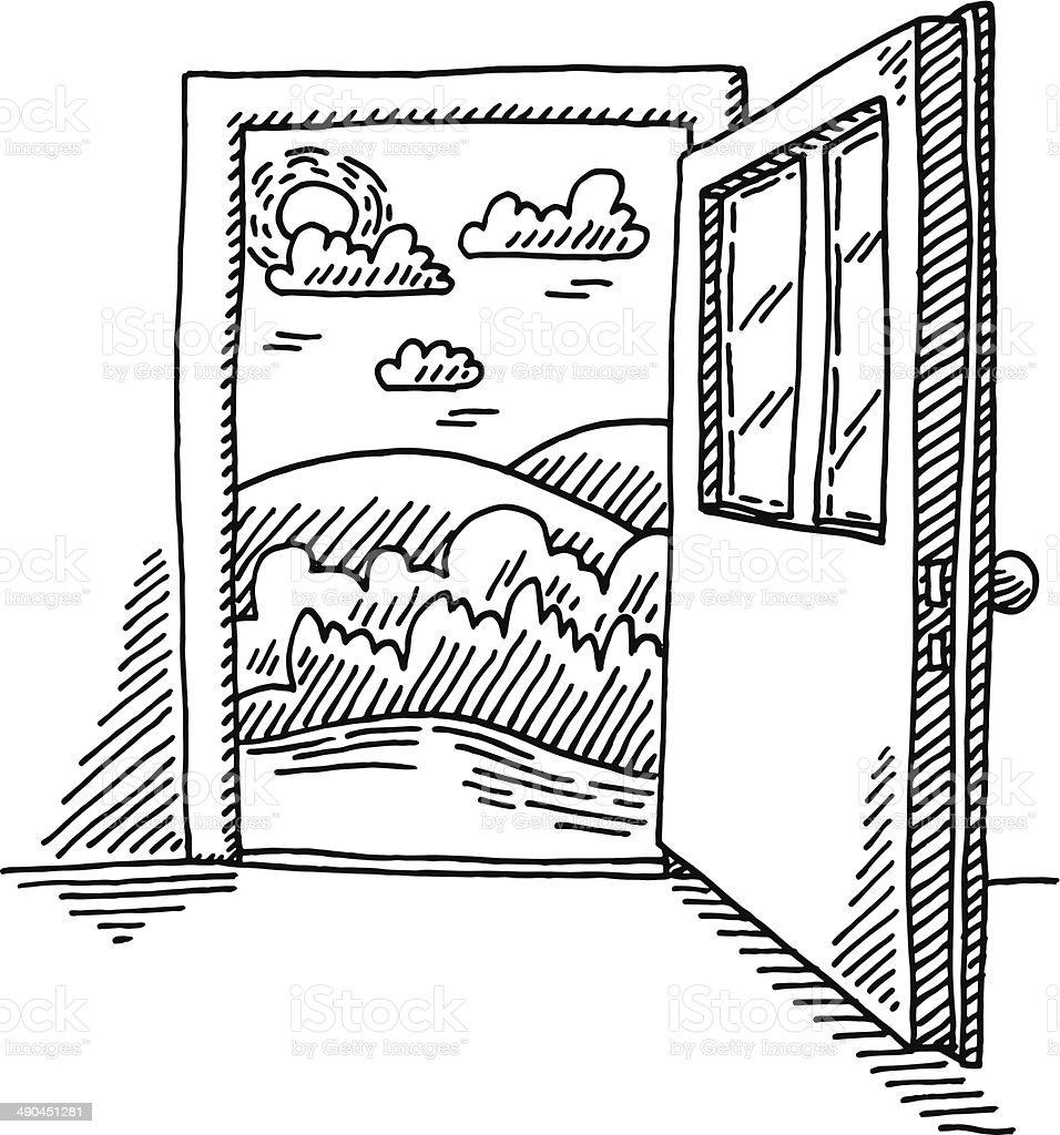 Open Door Freedom Concept Drawing vector art illustration