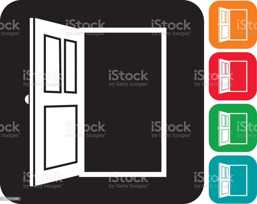 Open door icon set  in multiple colors vector art illustration