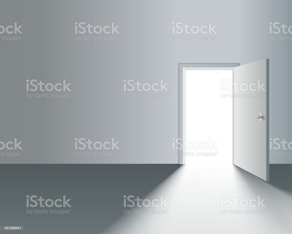 Open Door in Wall vector art illustration