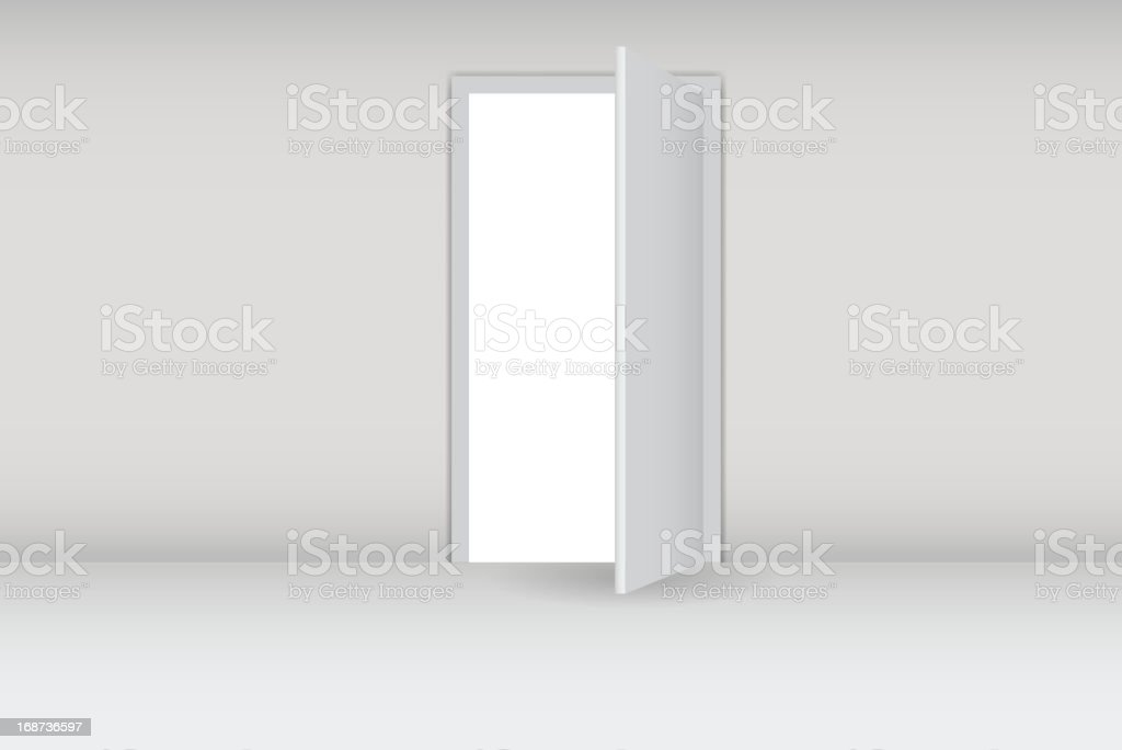 Open door on a white wall vector illustration royalty-free stock vector art