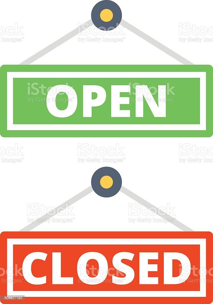 Open door sign and closed door sign set vector art illustration