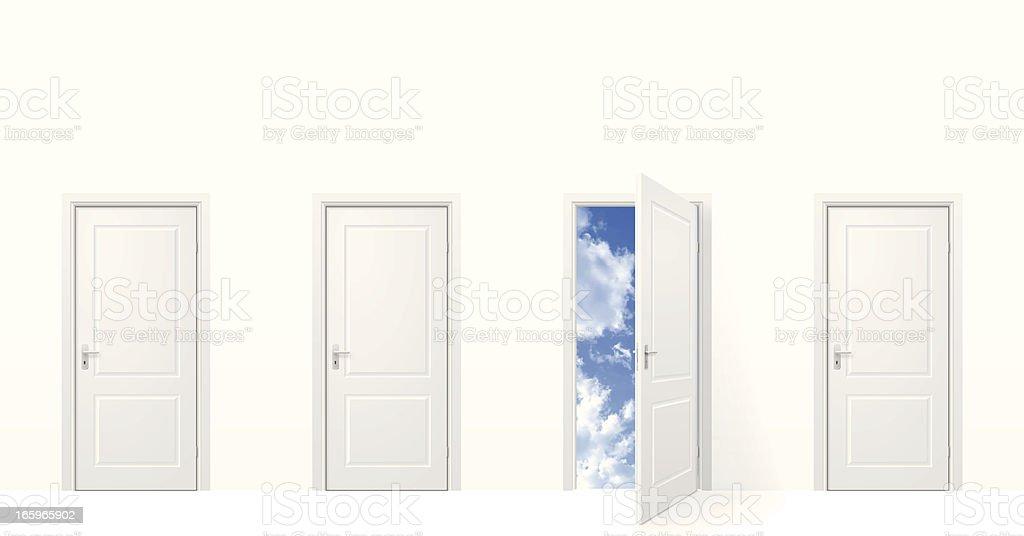Open door to sky vector art illustration