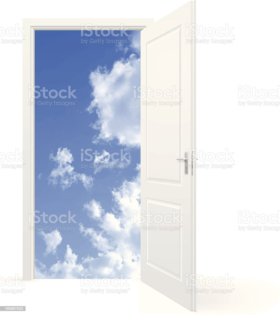 Open door to sky vector art illustration