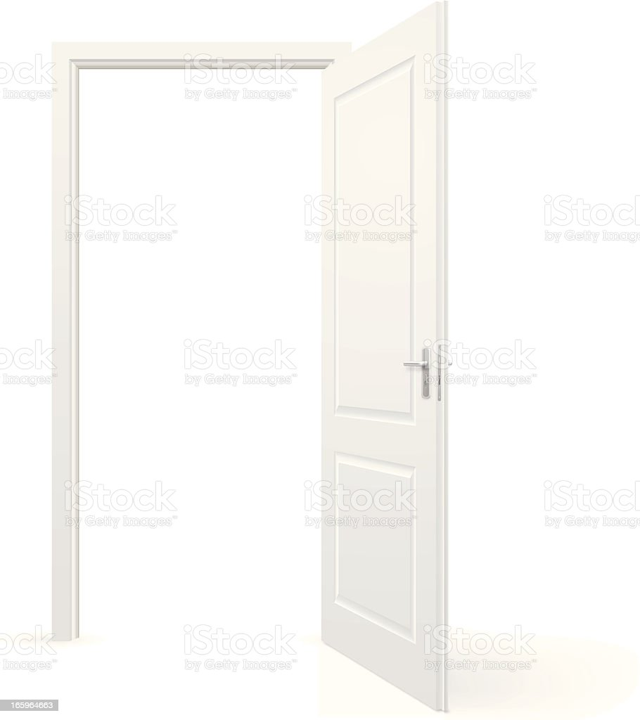Open door vector art illustration