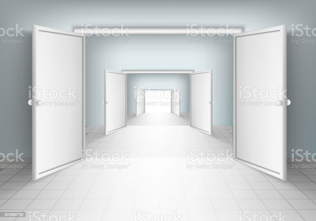 open doors in rooms vector art illustration