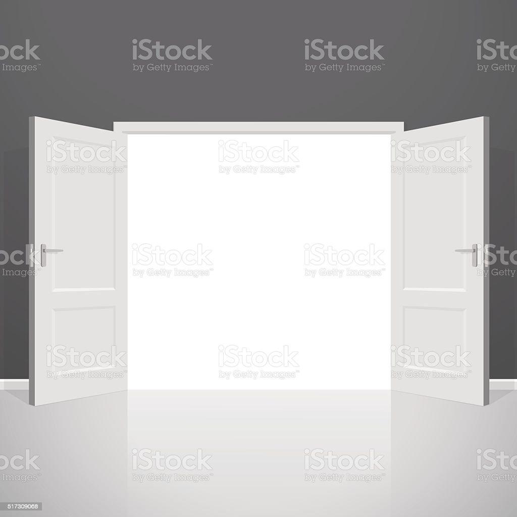 Open doors. Realistic vector illustration vector art illustration