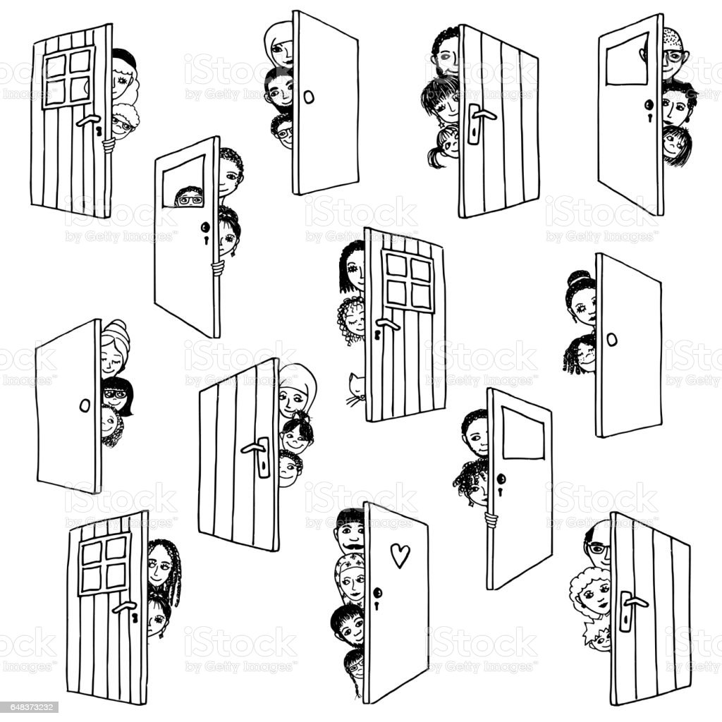 Open doors vector art illustration