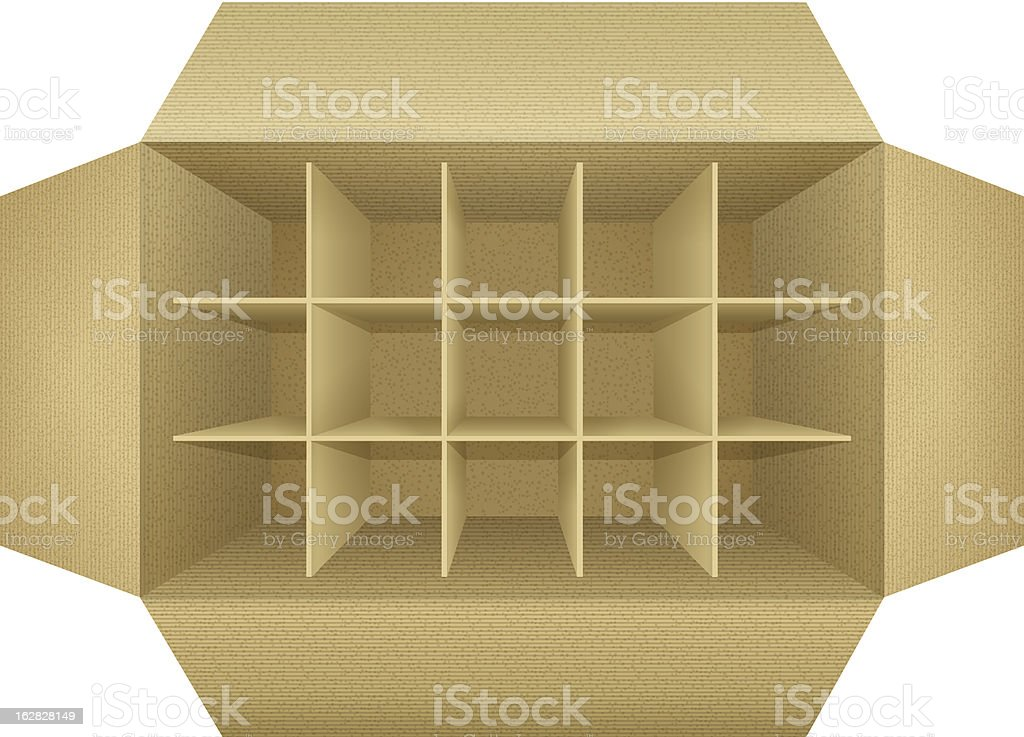 Open empty corrugated cardboard packaging box royalty-free stock vector art