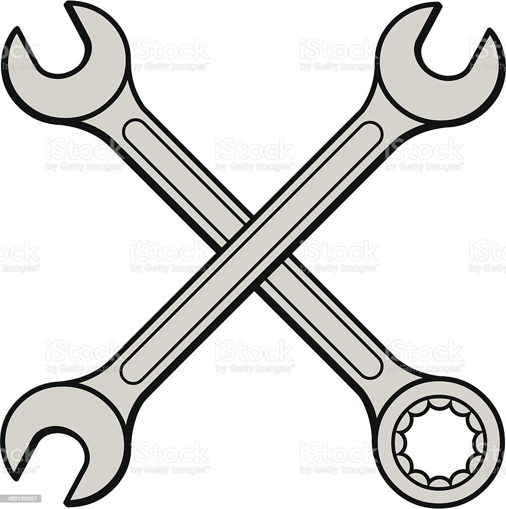 Open Ended Wrenches vector art illustration