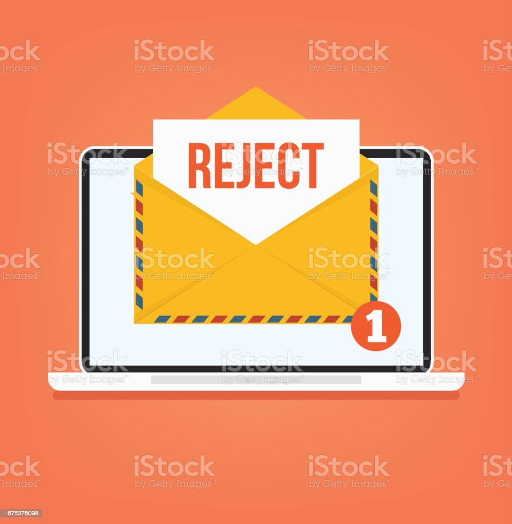Open envelop with reject red word email vector art illustration