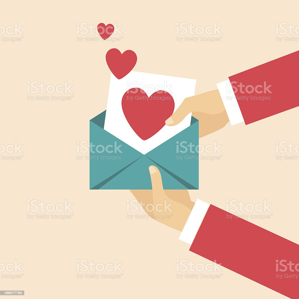 Open envelope containing heart symbol. royalty-free stock vector art