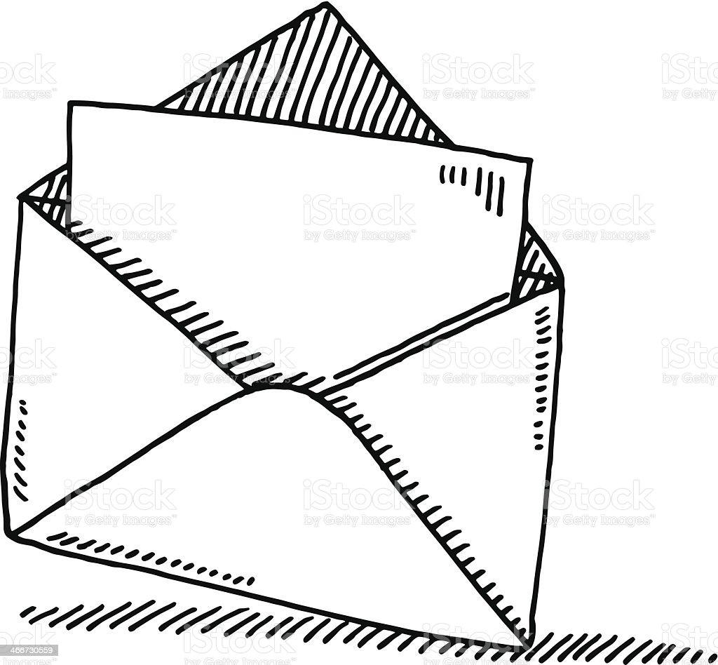 Open Envelope Letter Symbol Drawing vector art illustration