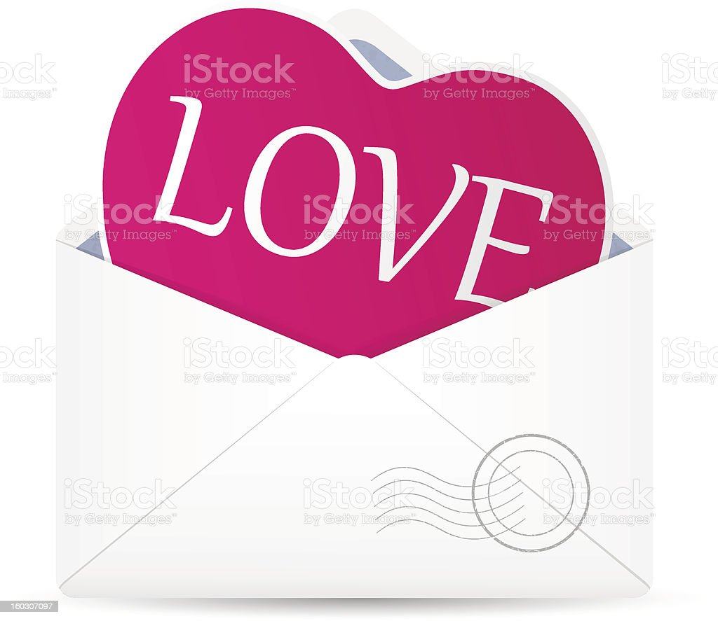 Open envelope with hearts. royalty-free stock vector art