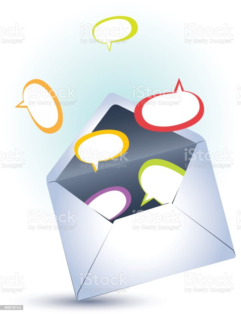 Open envelope with speech bubbles royalty-free stock vector art
