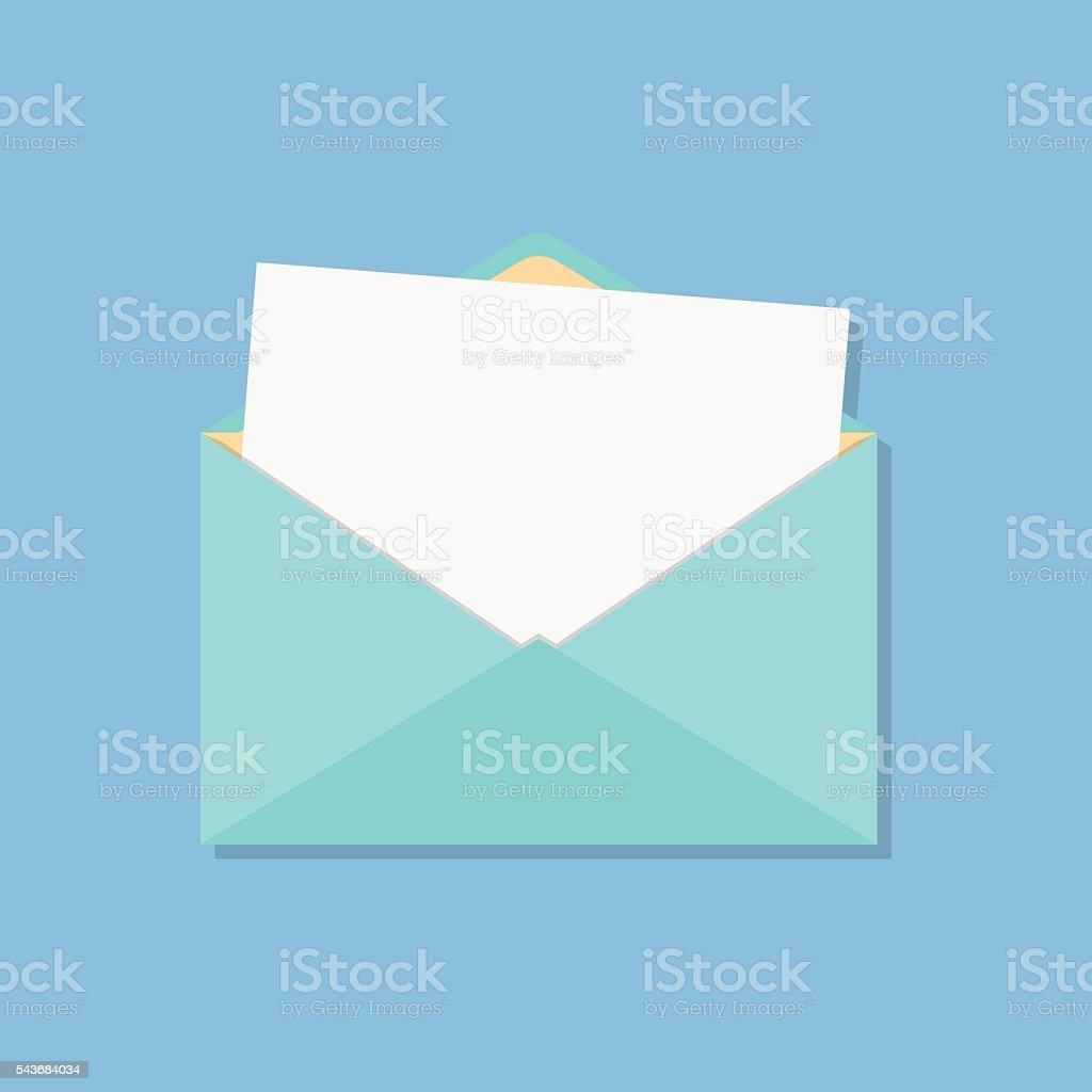 open envelope with white sheet vector art illustration