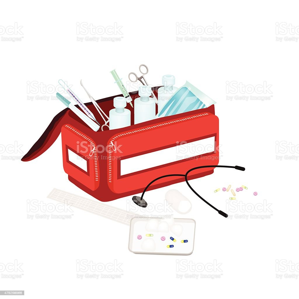 Open First Aid Box with Medical Supplies vector art illustration