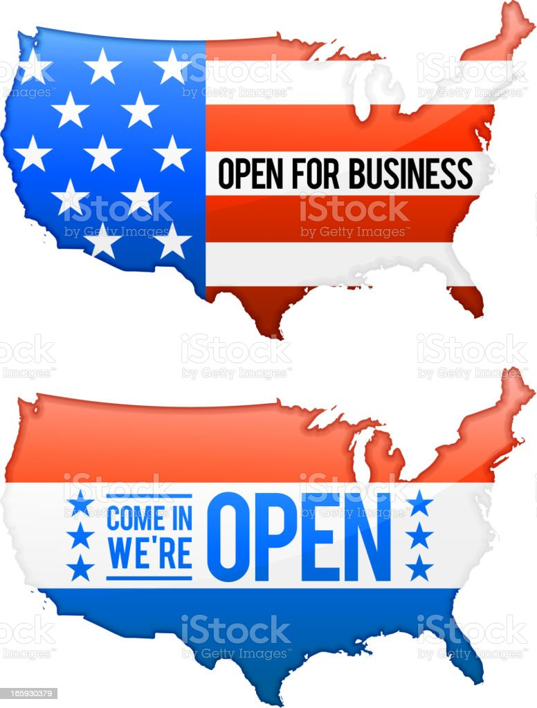 Open for Business United States Map set royalty-free stock vector art