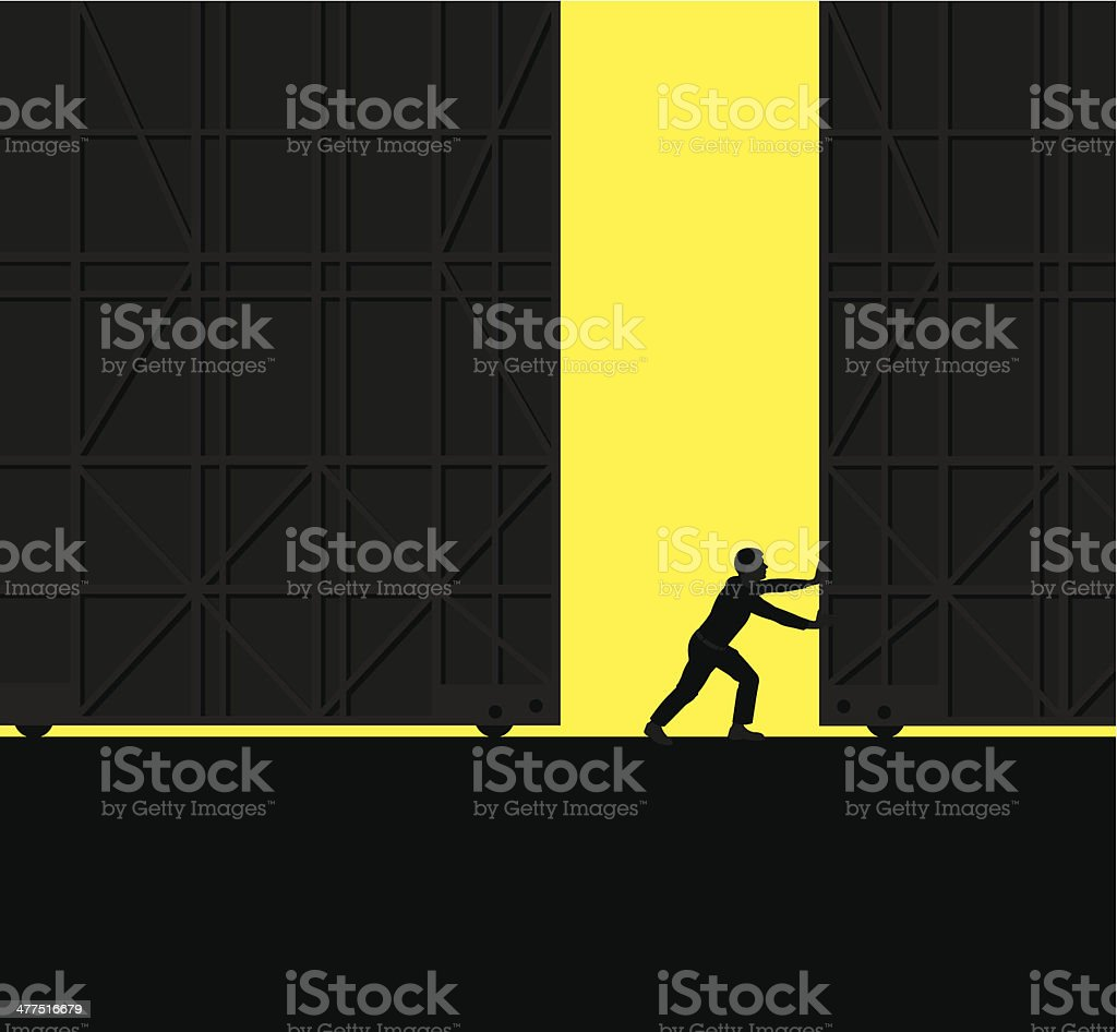 Open for Business, Warehouse Doors Background vector art illustration