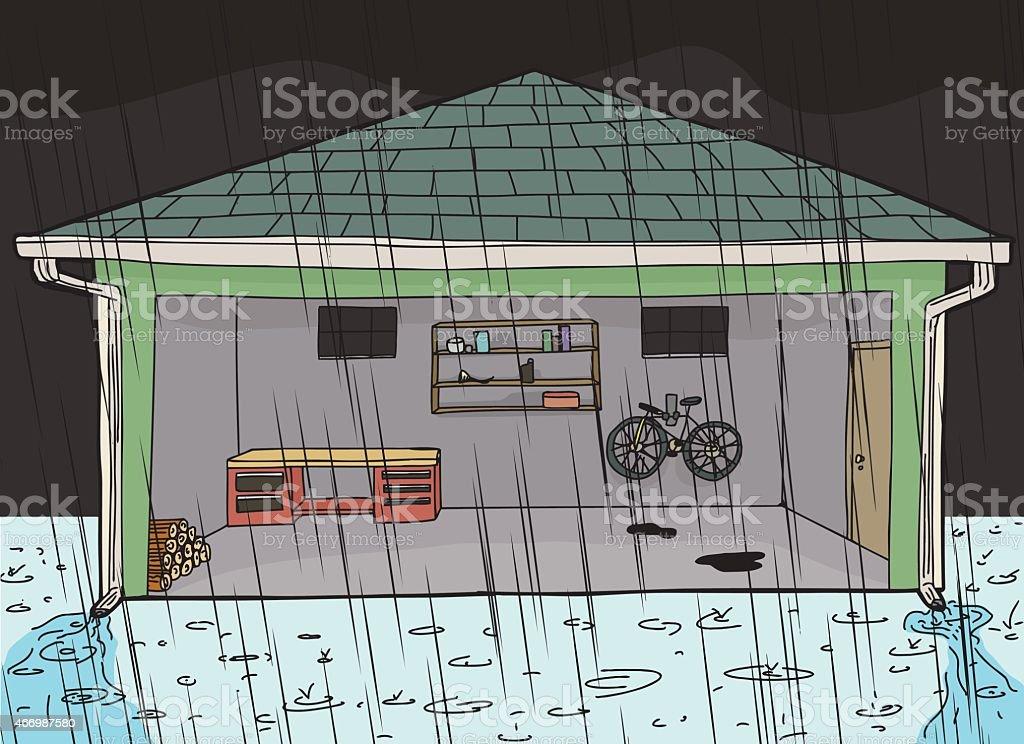 Das Garage Am Abend Bei Sturm Lizenzfreies Vektor Illustration