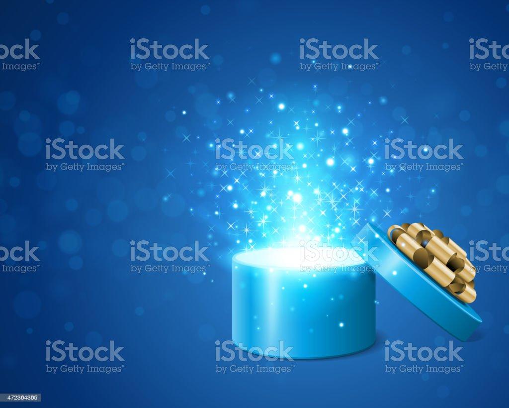 Open gift box and light fireworks christmas vector art illustration