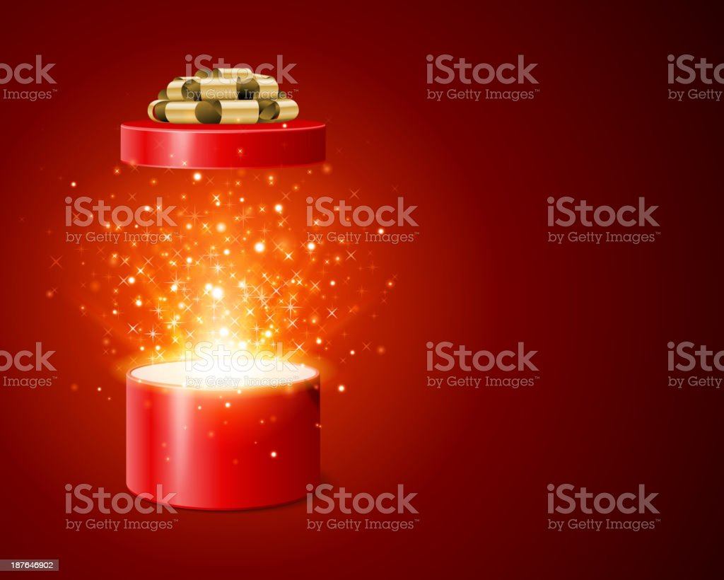 Open gift box and magic light fireworks christmas royalty-free stock vector art