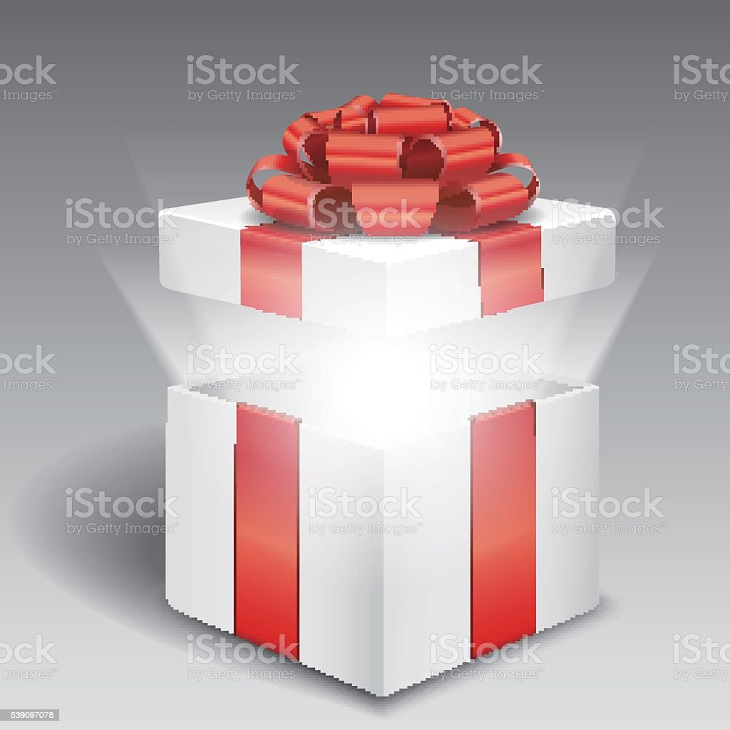 Open gift box with bright light vector art illustration