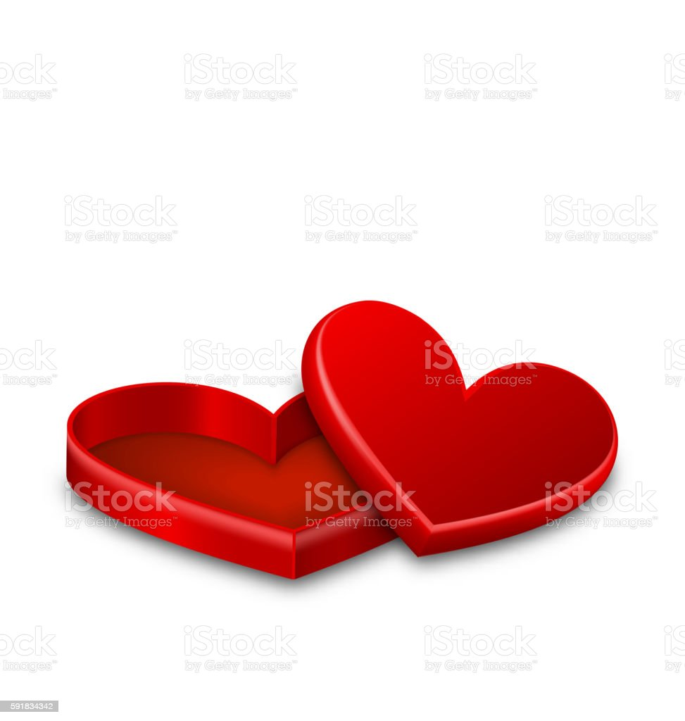 Open gift box with hearts isolated on white vector art illustration
