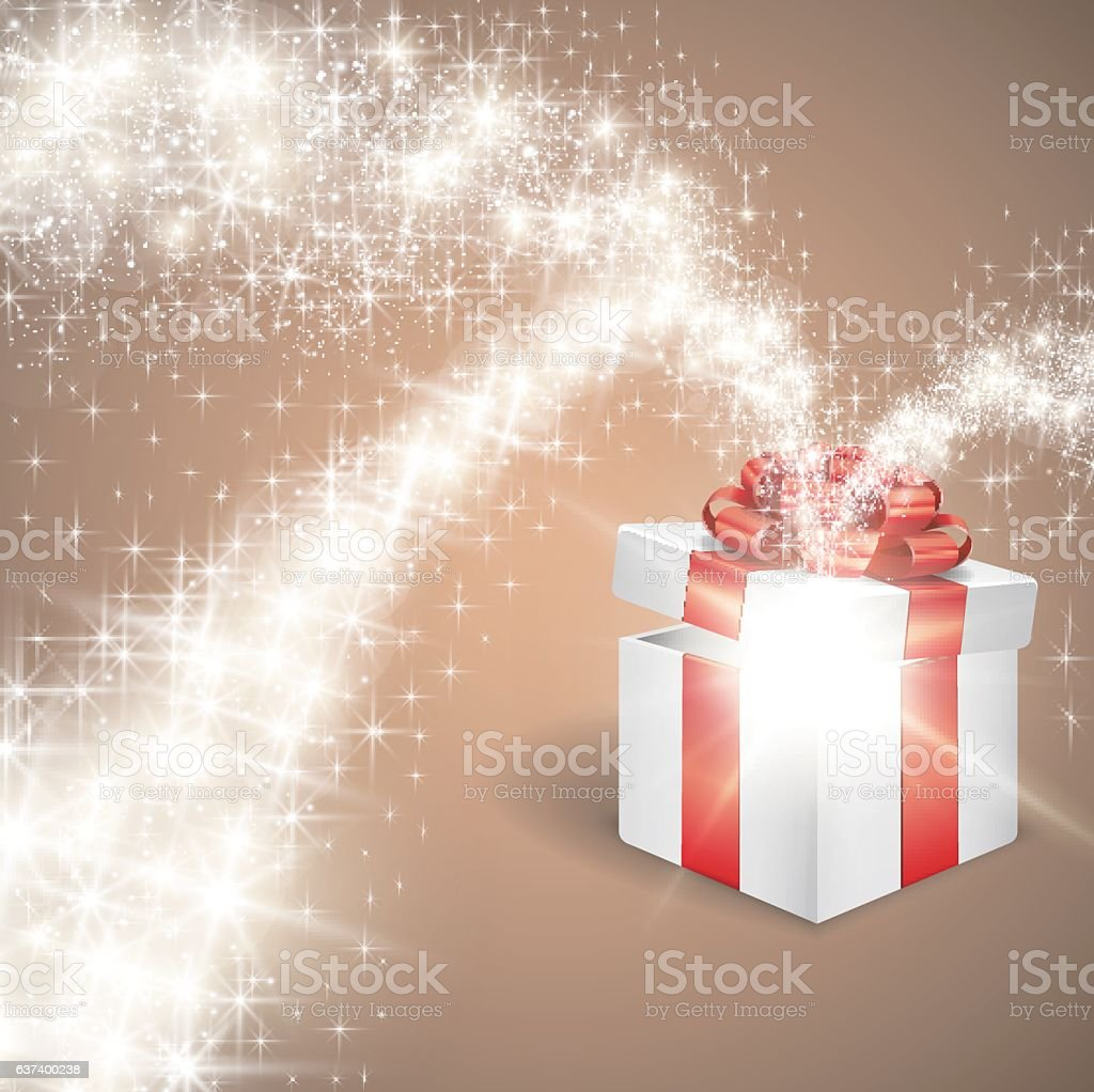 Open gift box with magic star vector art illustration